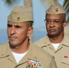 Master Chief Hospital Corpsman Robert Banuelos, left, and Capt. Daryl K. Daniels, commanding officer of U.S. Naval Hospital Guantanamo Bay.