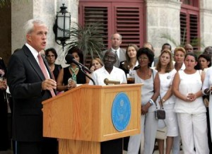 File photo of former U.S. top diplomat in Havana Parmly addressing foreign diplomats and Cuban dissidents on International Human Rights Day at his residence in Havana